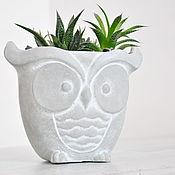 Цветы и флористика handmade. Livemaster - original item The pot of flowers Owl of concrete, grey, creative for plants. Handmade.