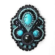 Украшения handmade. Livemaster - original item A beaded brooch turquoise. Handmade.