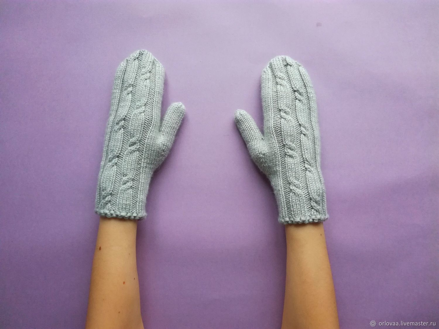 Short knitted mittens Merino cashmere ' gray-green', Mittens, Moscow,  Фото №1