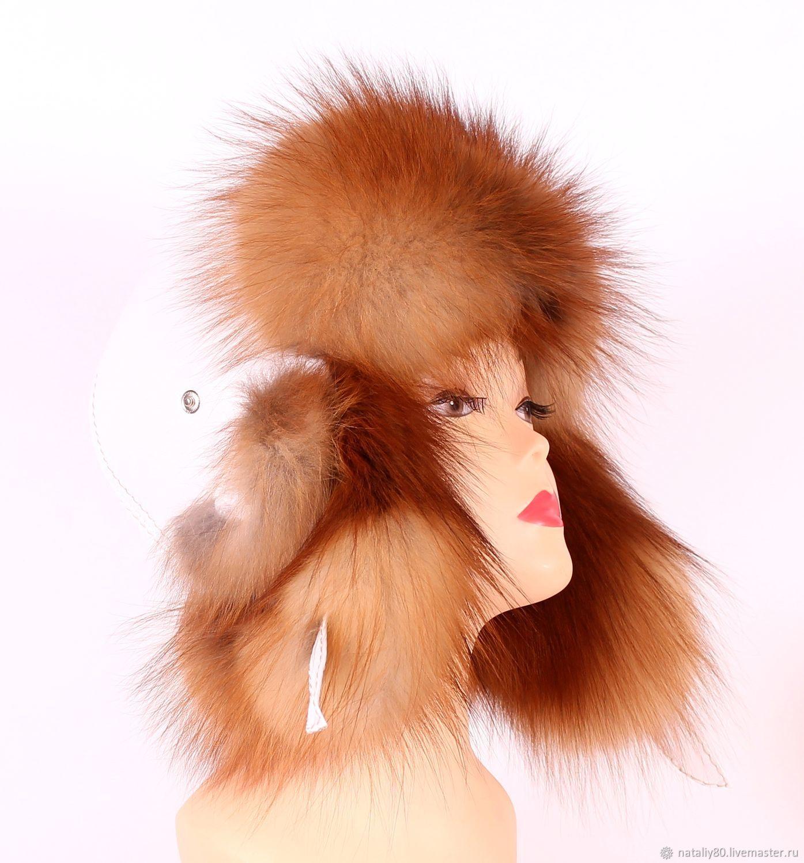 Женская шапка ушанка из лисы огневки - OGNB, Аксессуары, Обухово, Фото №1