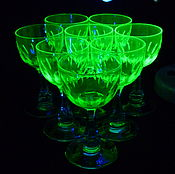 Винтаж handmade. Livemaster - original item Wine GLASSES set 8 pieces 12 cm Colour URANIUM glass CARVING Beginning of the 20th century. Handmade.