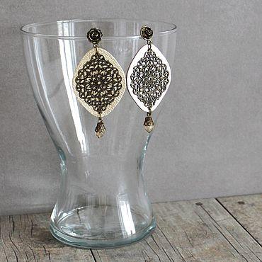 Decorations handmade. Livemaster - original item earrings: Large leather earrings Light gold 3. Handmade.
