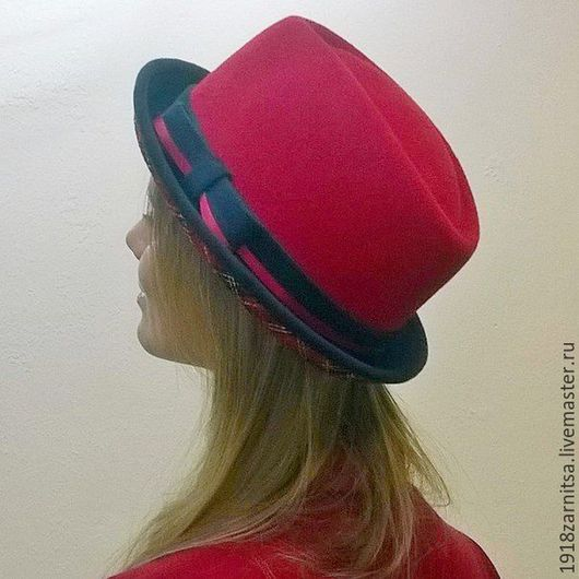 Шапки ручной работы. Ярмарка Мастеров - ручная работа. Купить Велюровая - фетровая шляпка Порк Пай. Handmade. Комбинированный