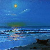 Картины и панно ручной работы. Ярмарка Мастеров - ручная работа Спит луна над морем ласковым.... Handmade.