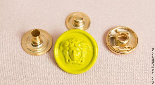 Шитье ручной работы. Ярмарка Мастеров - ручная работа. Купить Пуговицы-кнопки  «Versace» 6 штук. Handmade. Желтый