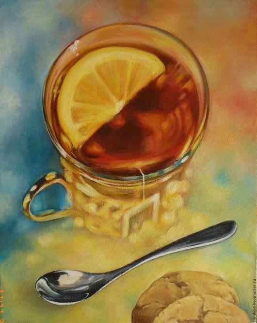 Натюрморт ручной работы. Ярмарка Мастеров - ручная работа. Купить Чай с лимоном. Handmade. Картина для интерьера, лимон, завтрак