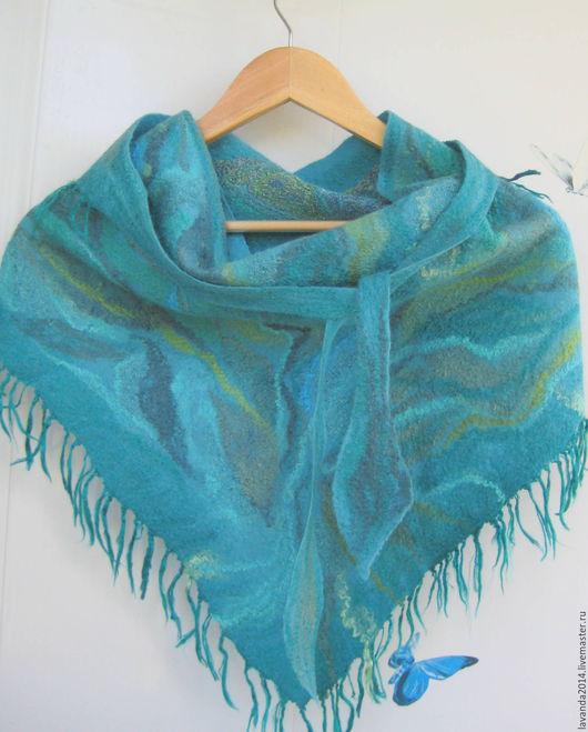 Шарфы и шарфики ручной работы. Ярмарка Мастеров - ручная работа. Купить Бактус валяный на шёлке Бирюзовая волна, шарф нуно-войлок. Handmade.