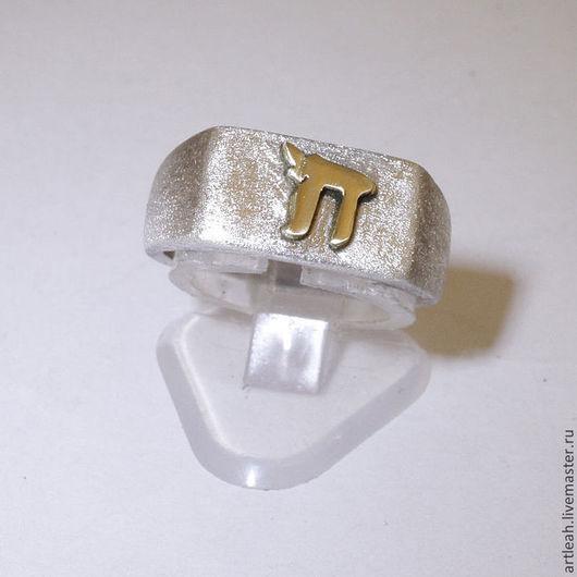 Кольца ручной работы. Ярмарка Мастеров - ручная работа. Купить Серебряное кольцо с золотой буквой Хей.. Handmade. Мужское кольцо