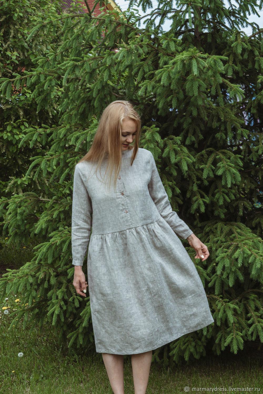 Платья ручной работы. Ярмарка Мастеров - ручная работа. Купить Льняное платье 'Крокус'. Handmade. Летнее платье