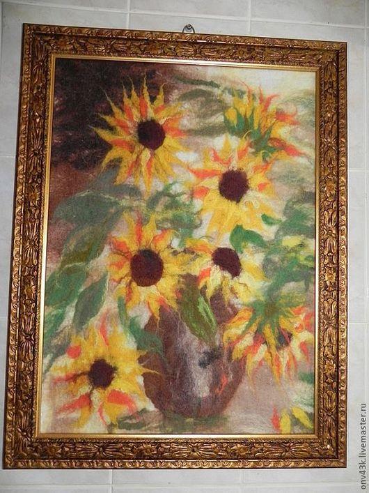"""Картины цветов ручной работы. Ярмарка Мастеров - ручная работа. Купить Картина """"Подсолнухи"""". Handmade. Желтый, подсолнухи, подсолнухи в вазе"""