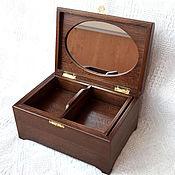 Для дома и интерьера ручной работы. Ярмарка Мастеров - ручная работа Шкатулка дубовая с зеркалом и съемным ящиком 26х18х13 см окрашенная. Handmade.