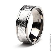 Украшения handmade. Livemaster - original item Ring Titanium titanium with meteorite Gibeon. Handmade.