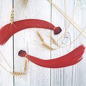 Трессы для кукол прямые 25см Красные