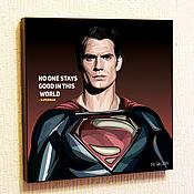 Картины и панно handmade. Livemaster - original item Picture Poster Superman Comics DC justice League Pop Art. Handmade.