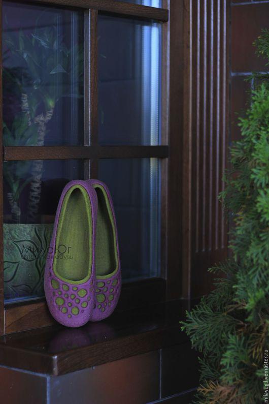 """Обувь ручной работы. Ярмарка Мастеров - ручная работа. Купить """"Сады Прованса""""  валяные тапочки-балетки. Handmade. Брусничный"""