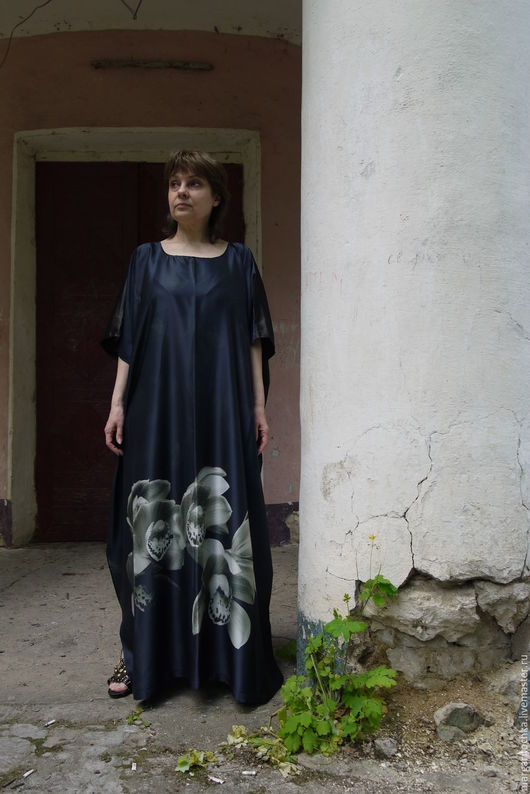 Большие размеры ручной работы. Ярмарка Мастеров - ручная работа. Купить Черно-серое платье для отдыха. Handmade. свободный крой