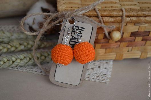 """Серьги ручной работы. Ярмарка Мастеров - ручная работа. Купить Оранжевые серьги """"Яркая осень"""". Handmade. Оранжевый, Вязаные серьги"""