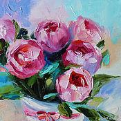 Картины и панно handmade. Livemaster - original item Oil painting with roses on canvas 30/30 cm.. Handmade.