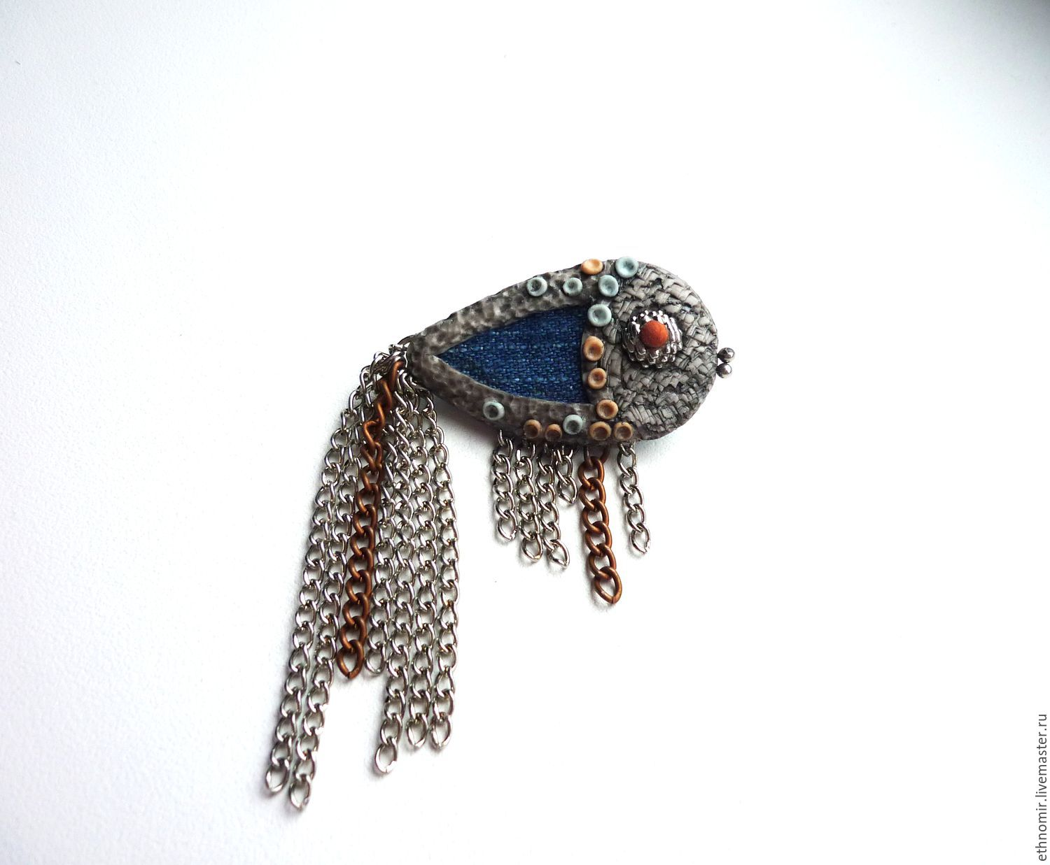 brooch, `fish`no. `№2 denim with a; series `fancy brooches`