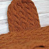 Аксессуары handmade. Livemaster - original item Hat and scarf set golden autumn brown. Handmade.