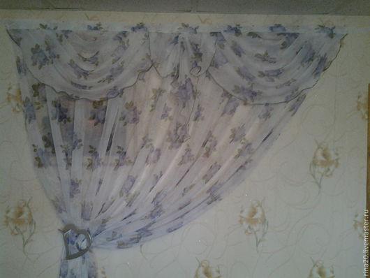 Текстиль, ковры ручной работы. Ярмарка Мастеров - ручная работа. Купить шторы для кухни. Handmade. Синий, вуаль кухня ламбрекен