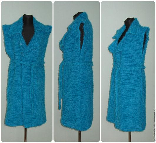 """Верхняя одежда ручной работы. Ярмарка Мастеров - ручная работа. Купить Бирюзовое вязанное пальто """" Бирюзинка """". Handmade."""