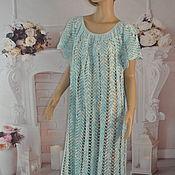 handmade. Livemaster - original item Crocheted floor-length dress, 100%,54-58% linen, p.. Handmade.