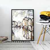 Картины и панно handmade. Livemaster - original item Oil painting on canvas Amsterdam (cityscape beige white). Handmade.