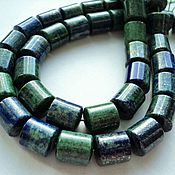 Материалы для творчества handmade. Livemaster - original item Large azurite tube beads 14mm. Handmade.