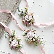 Браслеты ручной работы. Ярмарка Мастеров - ручная работа Цветочный браслет для подружек невесты с розовыми цветами. Handmade.