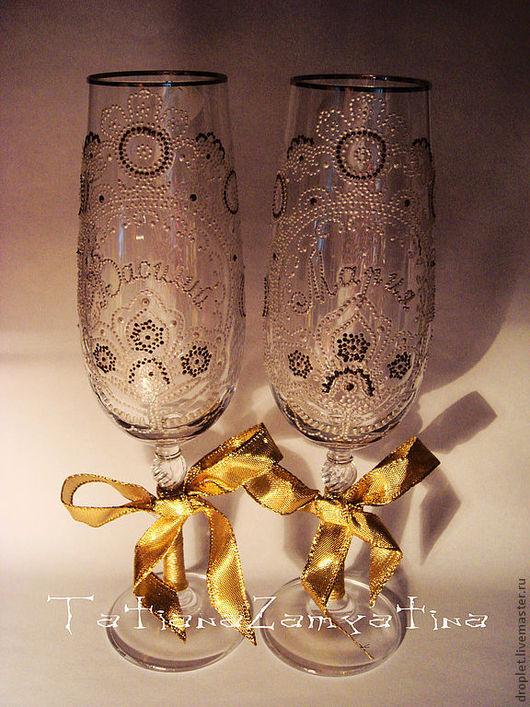 Бокалы, стаканы ручной работы. Ярмарка Мастеров - ручная работа. Купить Свадебные бокалы. Handmade. Стекло, Витраж, купить
