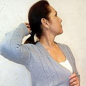 Одежда handmade. Livemaster - original item Blue Alpaca cardigan with Aran buttons. Handmade.