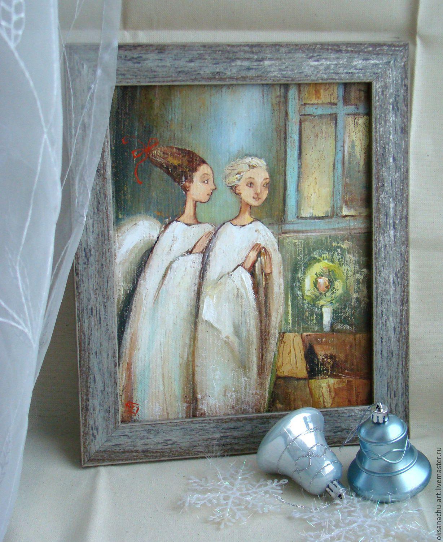 Два ангела хранителя.Картина маслом, Картины, Королев,  Фото №1