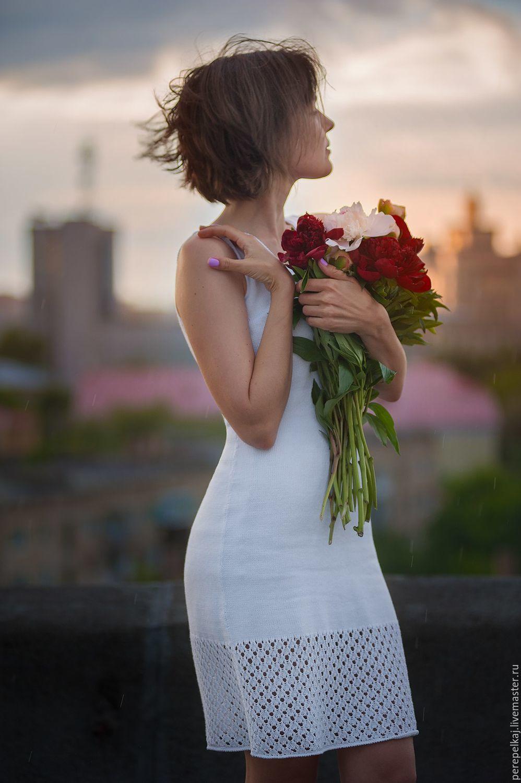 Платья ручной работы. Ярмарка Мастеров - ручная работа. Купить Платье в бельевом стиле. Handmade. Белый, вязаное платье, вискоза