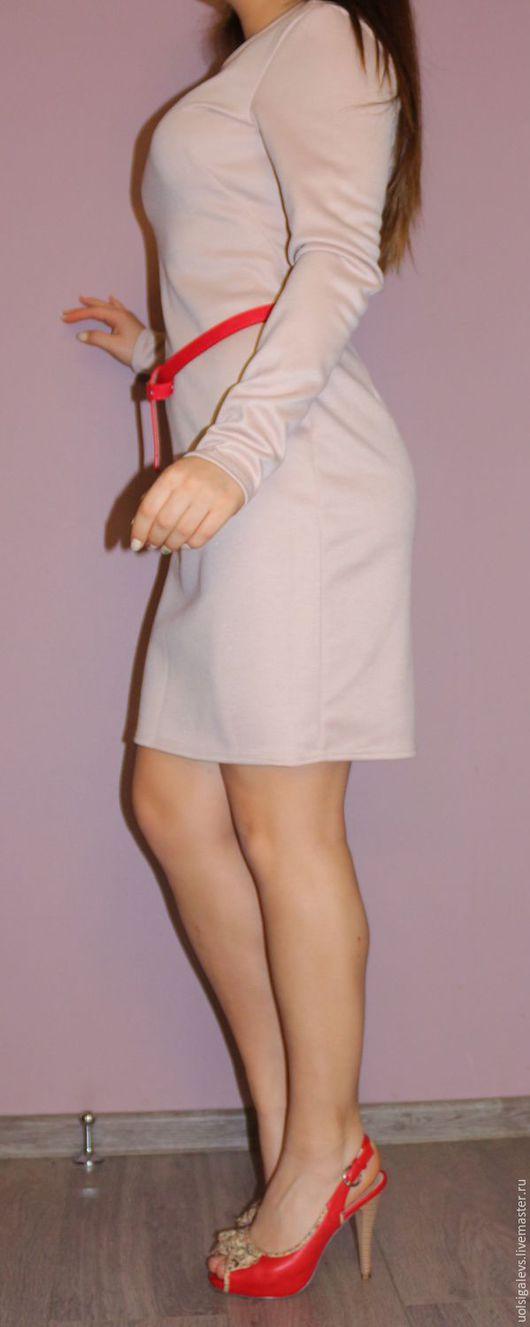 Платья ручной работы. Ярмарка Мастеров - ручная работа. Купить Платье трикотажное облегающего кроя mod.0075. Handmade. Бежевый