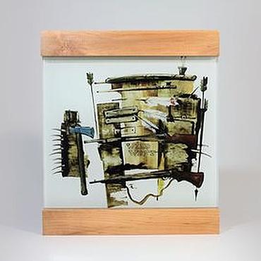 """Картины и панно ручной работы. Ярмарка Мастеров - ручная работа Стеклянная картина """"Дикий запад"""". Handmade."""