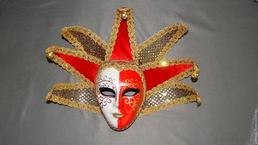 Интерьерные  маски ручной работы. Ярмарка Мастеров - ручная работа. Купить Золотой Арлекин (маска-декор). Handmade. Комбинированный