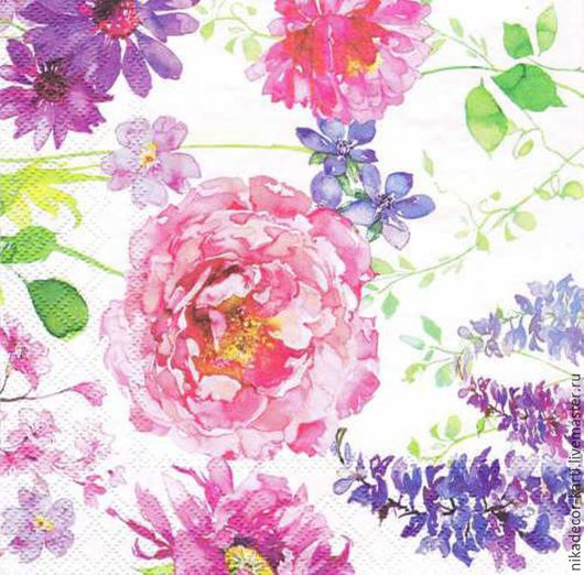 Декупаж и роспись ручной работы. Ярмарка Мастеров - ручная работа. Купить Розовые розы на белом (13309275) - салфетка для декупажа. Handmade.