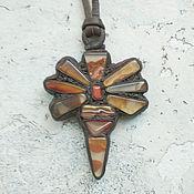 Украшения handmade. Livemaster - original item Dragonfly pendant in leather with agate Kazastan. Handmade.