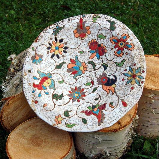 Тарелки ручной работы. Ярмарка Мастеров - ручная работа. Купить Тарелка керамическая. Handmade. Комбинированный, кракелюр, глазурь по керамике