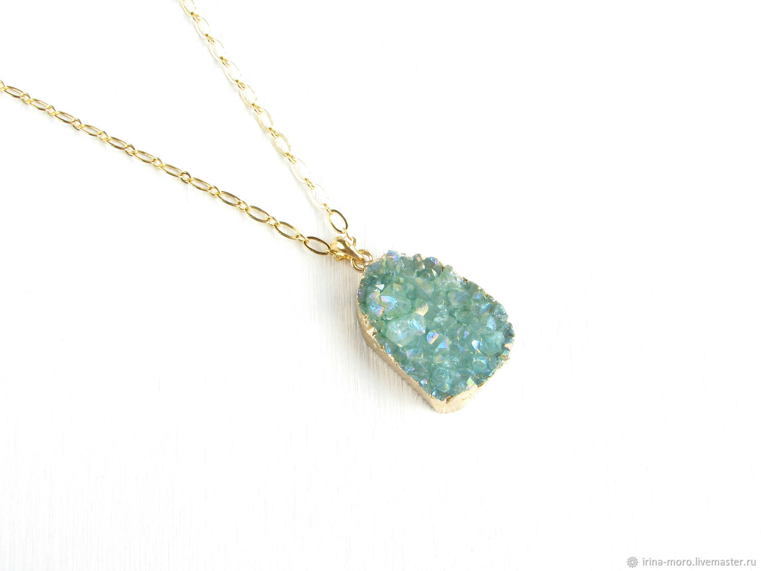 Pendant with agate 'Mint' mint pendant, summer pendant, gold, Pendant, Moscow,  Фото №1