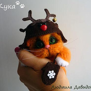 Куклы и игрушки ручной работы. Ярмарка Мастеров - ручная работа рыжий кот Кука вязаная мягкая игрушка в подарок. Handmade.