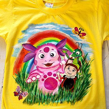 Clothing handmade. Livemaster - original item Children`s t-shirt with Luntik pattern hand painted. Handmade.