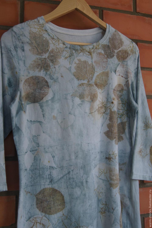 футболка ручное крашение, контактное крашение, эко принт, растения, отпечатки листьев, подарок