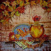"""Картины и панно ручной работы. Ярмарка Мастеров - ручная работа Батик панно""""Осеннее чаепитие"""", крепдешин 90-90 см,100%шёлк.. Handmade."""