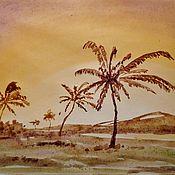 Картины и панно ручной работы. Ярмарка Мастеров - ручная работа Пейзаж с пальмами. Handmade.