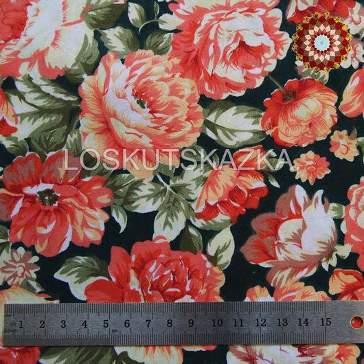 Ткань хлопок `Роза грандифлора темно-зеленый`. Код товара: DFS-00089