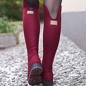 Обувь ручной работы handmade. Livemaster - original item Boots: Felt boots Bordeaux. Handmade.