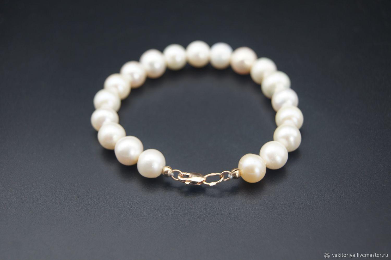 AAA grade pearl bracelet with gold lock, Bead bracelet, Moscow,  Фото №1
