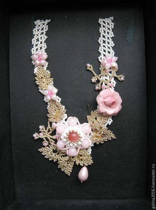 Колье, бусы ручной работы. Ярмарка Мастеров - ручная работа. Купить Ожерелье из бисера Розовая сказка. Handmade. Украшение на шею